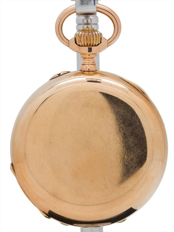 Henry Moser Yellow Gold Hunting Case Pocket Watch, circa 1900 4