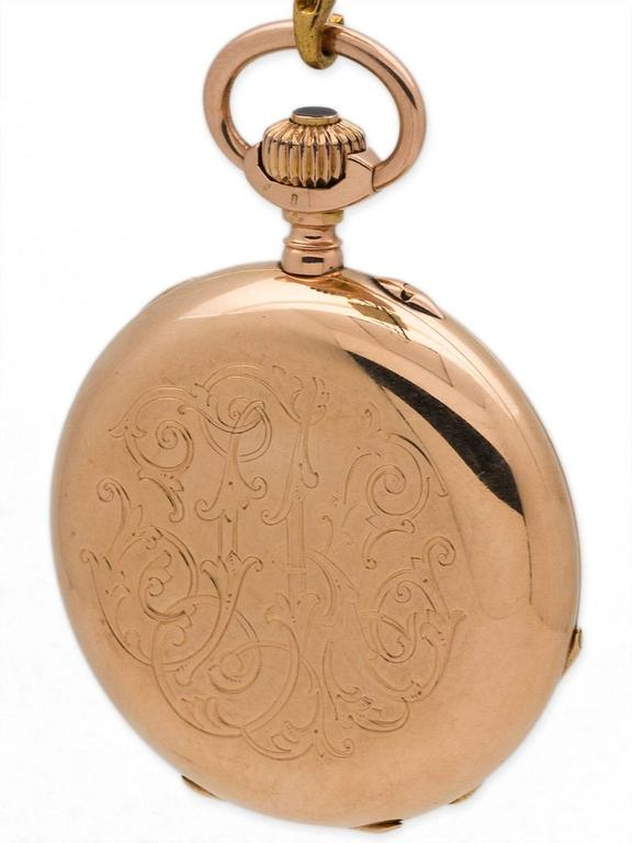 Henry Moser Yellow Gold Hunting Case Pocket Watch, circa 1900 2