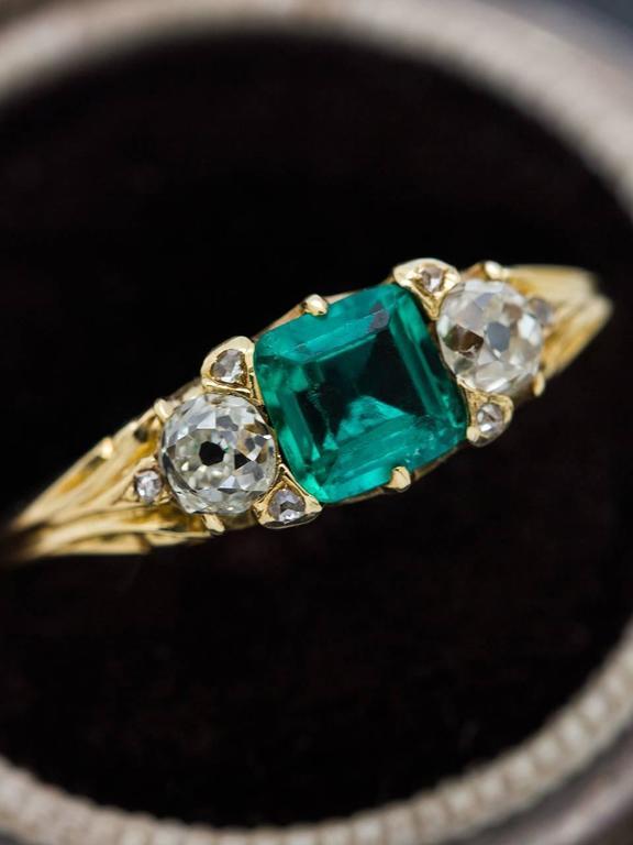 Antique Victorian Emerald Old European Cut Diamond Yellow