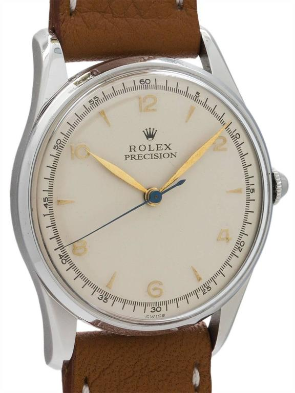 Rolex Stainless Steel Dress Model manual wind wristwatch Ref 5517, circa 1950s 4