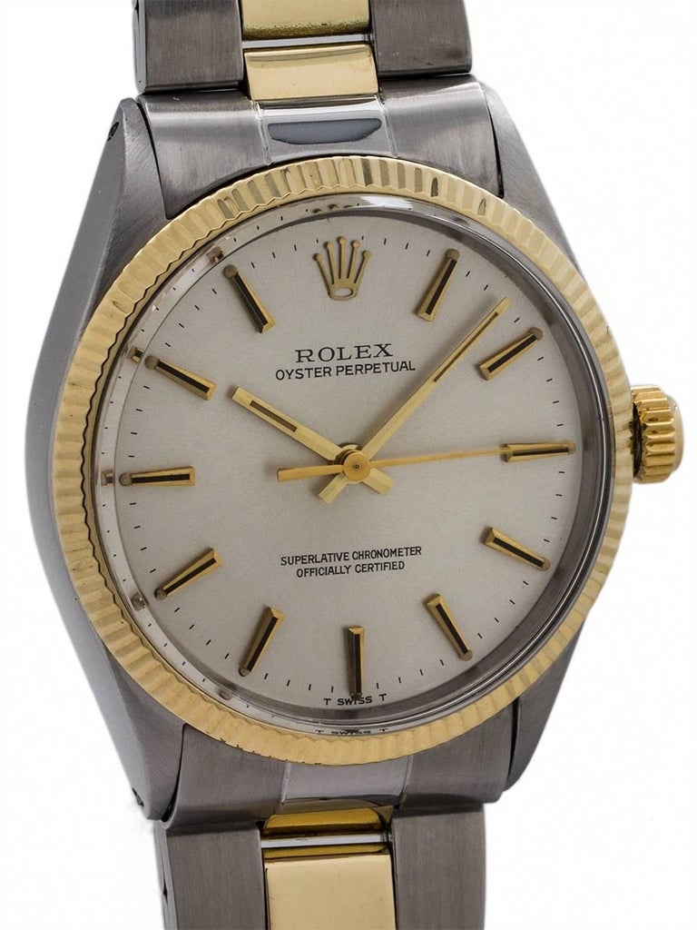 Rolex SS/14 karat YG Oyster Perpetual Ref 1005, circa 1969 In Excellent Condition For Sale In West Hollywood, CA