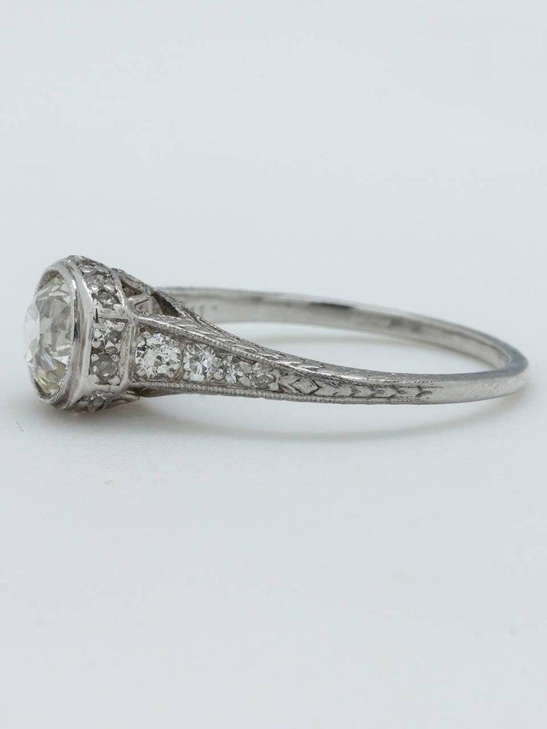 Vintage Engagement Ring Platinum 0 93 Carat Old European