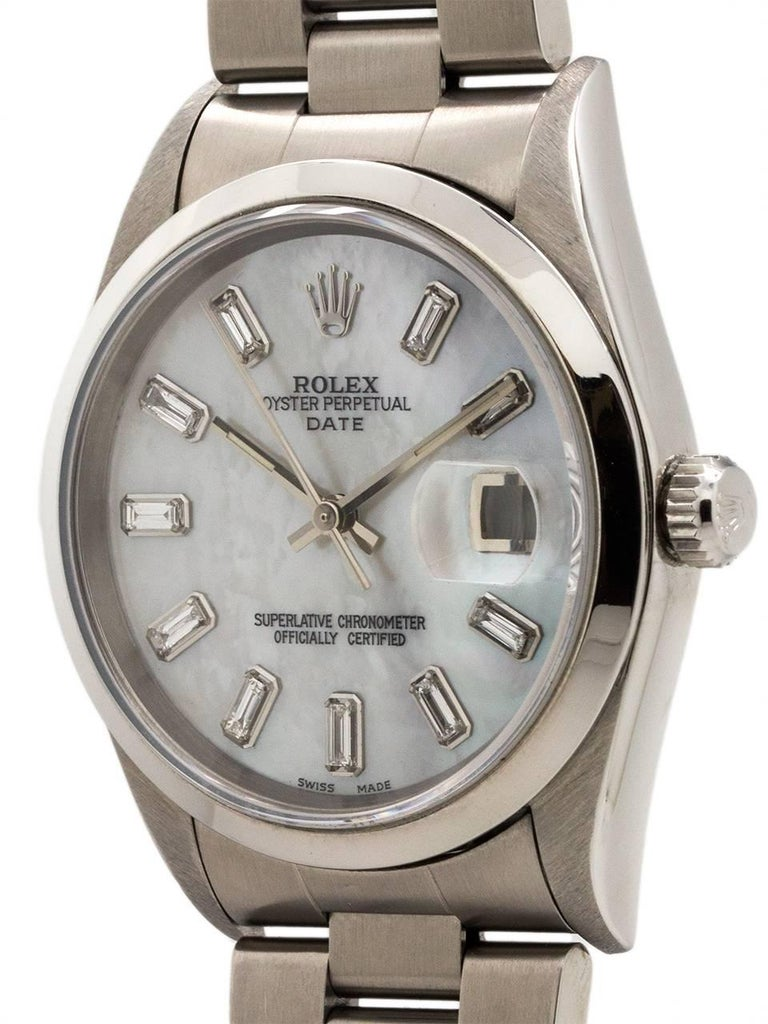 Rolex Stainless Steel Oyster Perpetual Baguette Dial Self Winding Wristwatch 2
