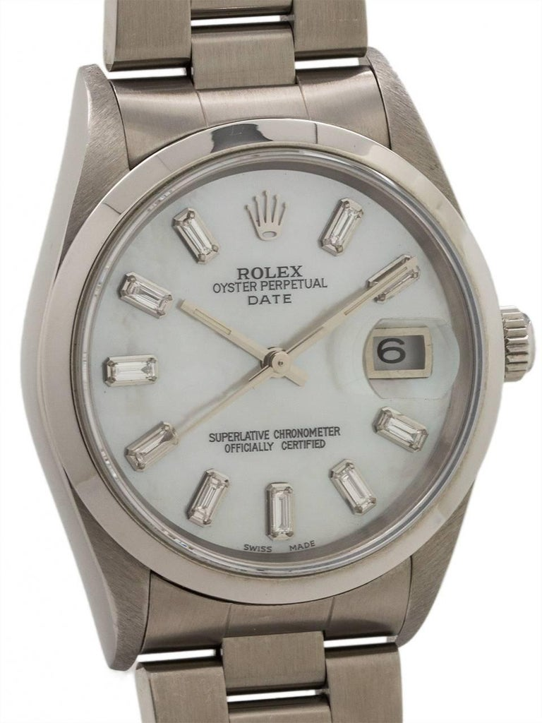Rolex Stainless Steel Oyster Perpetual Baguette Dial Self Winding Wristwatch 3