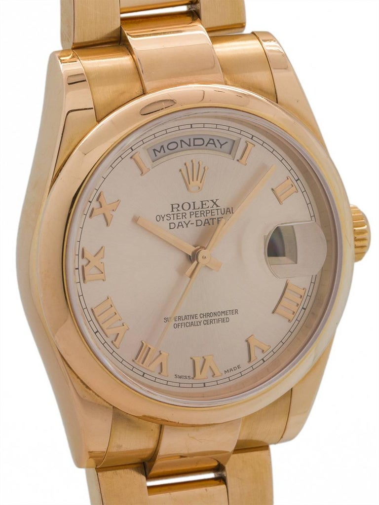 Rolex Yellow Gold Oyster President Roman Rose Dial Wristwatch, circa 2000 In Excellent Condition For Sale In West Hollywood, CA