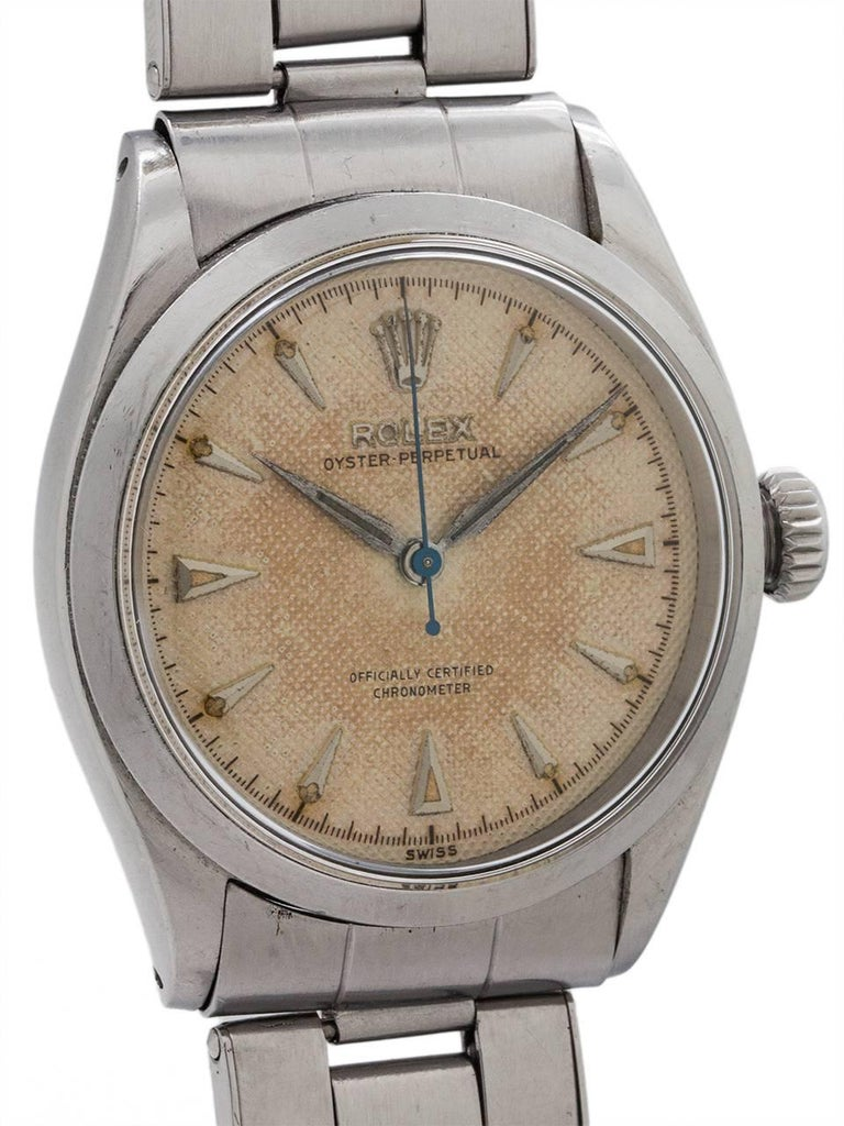 Rolex Stainless Steel Oyster Perpetual Self Winding Wristwatch, circa 1950 In Excellent Condition For Sale In West Hollywood, CA