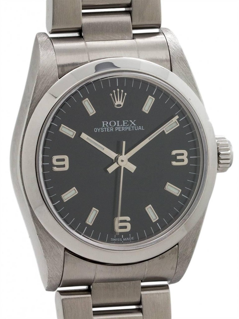 Rolex Stainless Steel Oyster Perpetual Midsize Wristwatch Ref 77080, circa 1998 In Excellent Condition For Sale In West Hollywood, CA