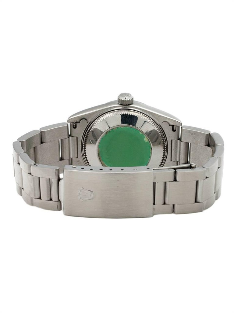 Women's or Men's Rolex Stainless Steel Oyster Perpetual Midsize Wristwatch Ref 77080, circa 1998 For Sale