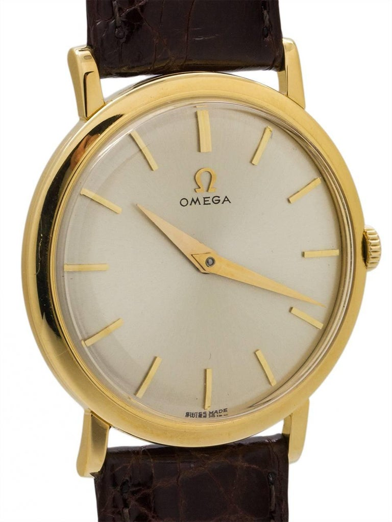 Omega Yellow Gold Manual Wind Dress Wristwatch, circa 1958 In Excellent Condition For Sale In West Hollywood, CA