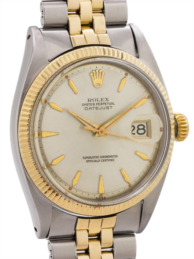 Rolex Yellow Gold Stainless Steel Datejust Automatic Wristwatch, circa 1960 In Excellent Condition For Sale In West Hollywood, CA
