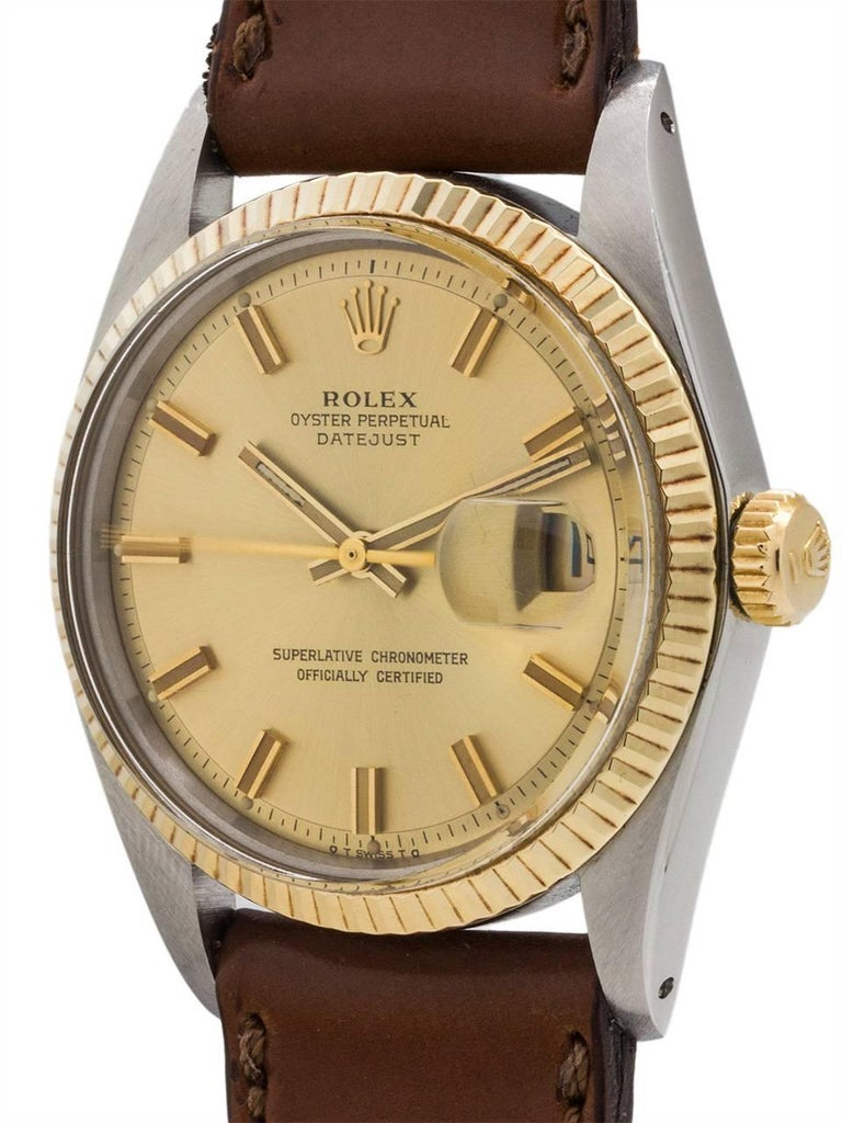 Rolex Yellow Gold Stainless Steel Datejust Automatic Wristwatch, circa 1973 2