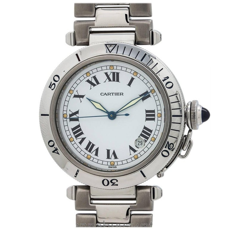 Cartier Stainless Steel White Dial Pasha Automatic Wristwatch