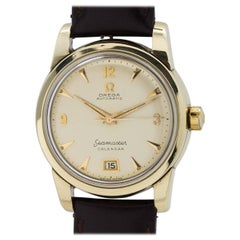 Omega Yellow Gold Seamaster Calendar Self Winding Wristwatch circa 1952