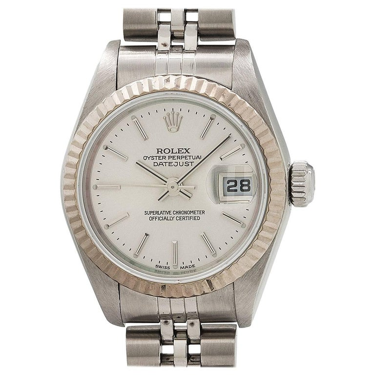 Rolex Ladies White Gold Stainless Steel Datejust Automatic Wristwatch circa 2003