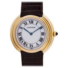 Cartier Yellow Gold Enamel Dial Vendome Tank manual Wristwatch, circa 1980s