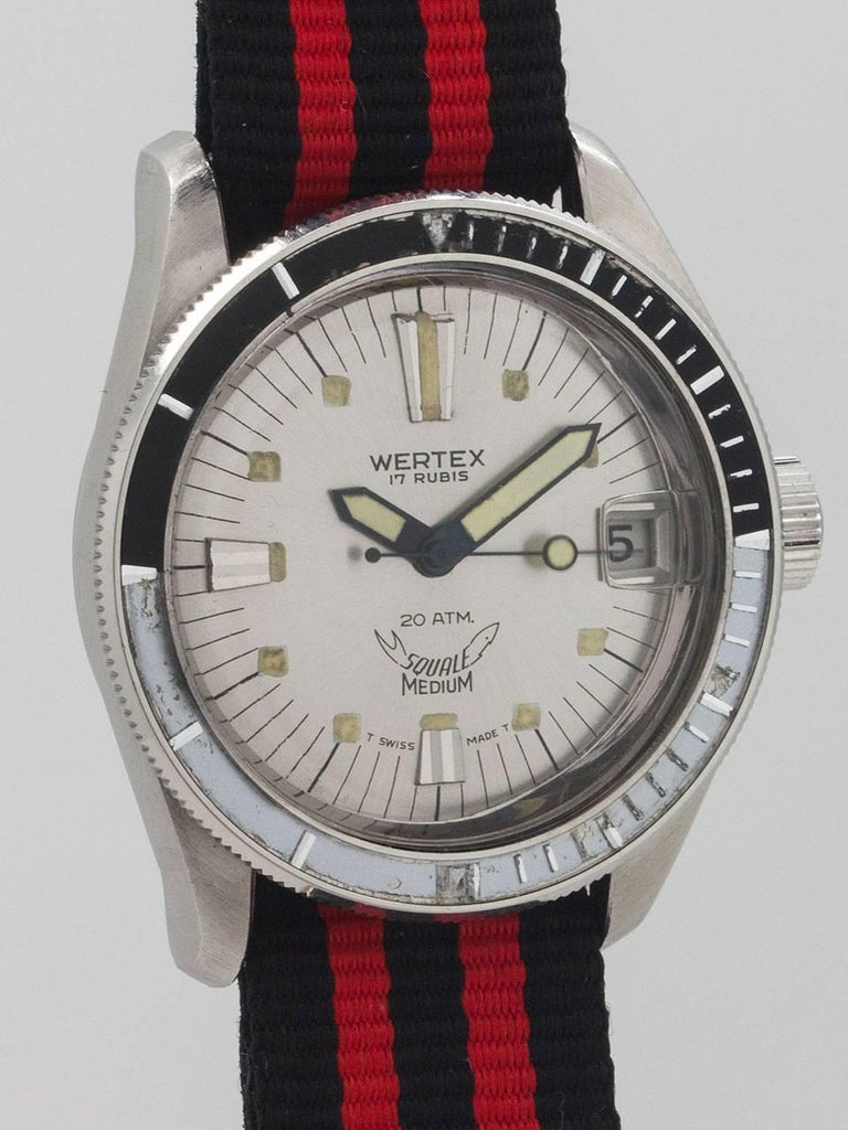 Men's Wertex Squale Stainless Steel Diver's Self Winding Wristwatch, circa 1960 For Sale
