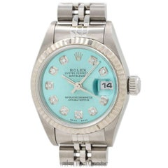 Rolex Ladies Stainless Steel Diamond Ice Blue Dial self-winding wristwatch
