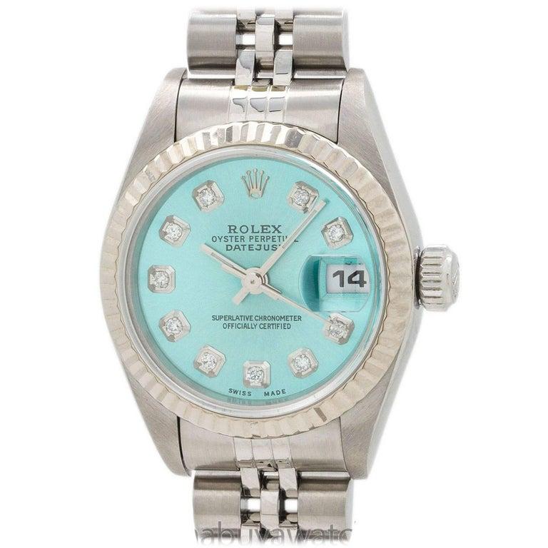 Rolex Ladies Stainless Steel Diamond Ice Blue Dial self-winding wristwatch