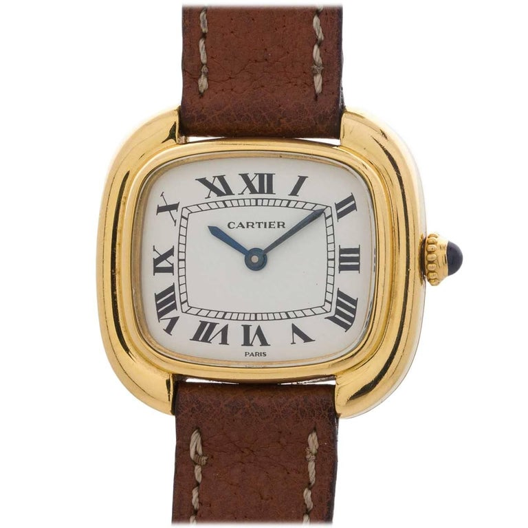 Cartier Ladies Yellow Gold Gondole quartz Wristwatch, circa 1990s