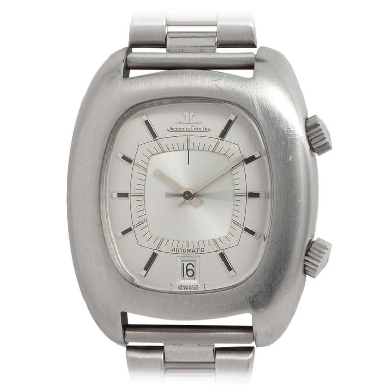 Jaeger Lecoultre Stainless Steel Memovox Automatic Alarm Wristwatch, circa 1970s
