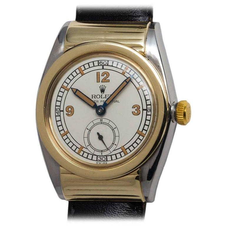 Rolex Yellow Gold Stainless Steel Ribbed Hooded Bubbleback Wristwatch, 1940s
