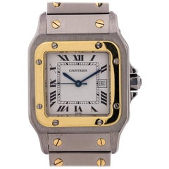 Cartier Gold Stainless Steel Santos Galbee Automatic Wristwatch, circa 2000s