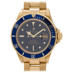 Rolex Yellow Gold Submariner Transitional Model Wristwatch Ref 16808, circa 1987