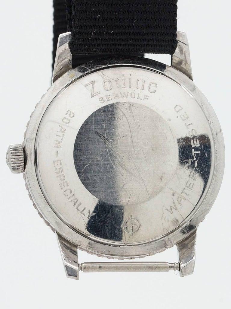 Zodiac Stainless Steel Seawolf Self Winding Wristwatch, circa 1960s For Sale 1