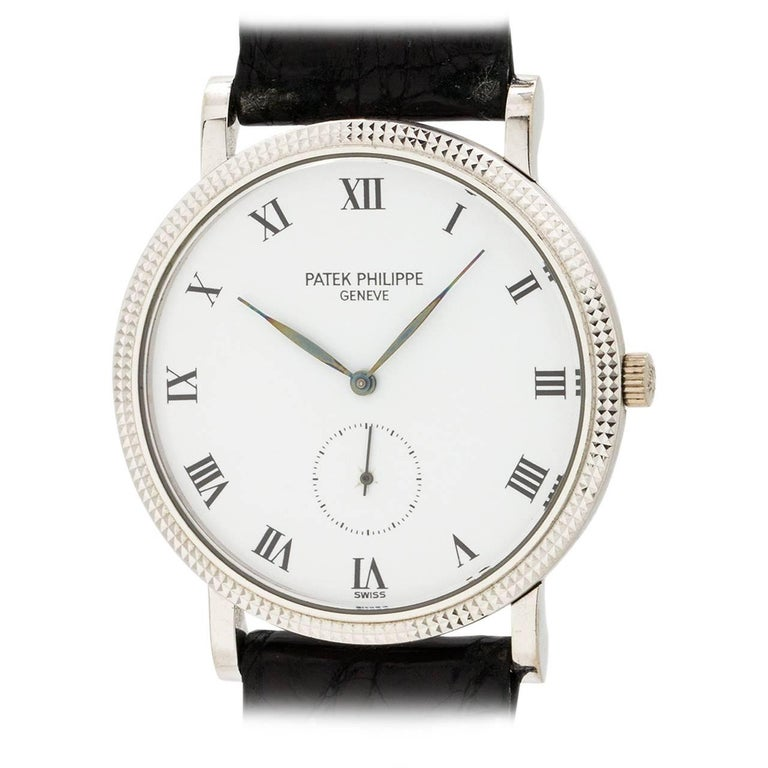Patek Philippe White Gold Hobnail Bezel Manual Wind Wristwatch Ref 3919