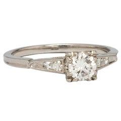 Vintage Diamond Engagement Ring 0.50 Carat Transitional Cut G-VS1 circa 1950s