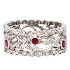 Vintage Style 18K WG Diamond and& Ruby Eternity Band 0.51ct, circa 2000s