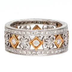 Diamond Set Eternity Band in White and Rose Gold