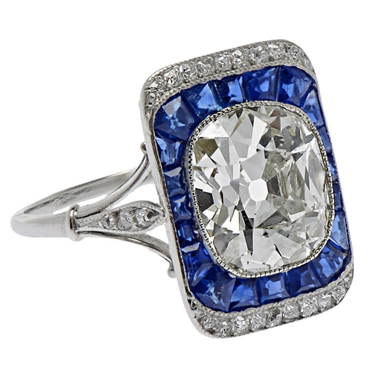 French Edwardian Cushion Cut Sapphire Diamond Platinum Engagement Ring For Sale