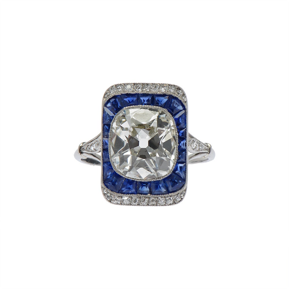 French Edwardian Cushion Cut Sapphire Diamond Platinum Engagement Ring at 1st