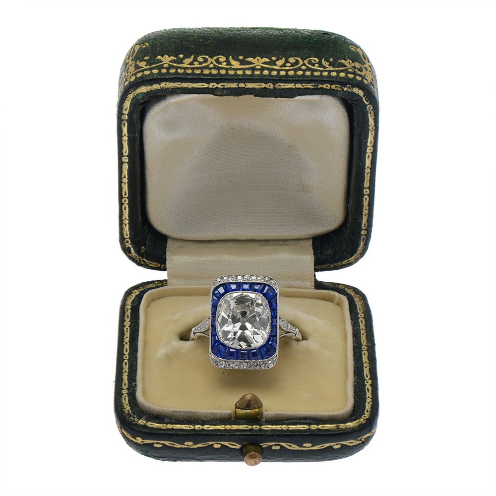 French Edwardian Cushion Cut Sapphire Diamond Platinum Engagement Ring In Good Condition For Sale In London, GB