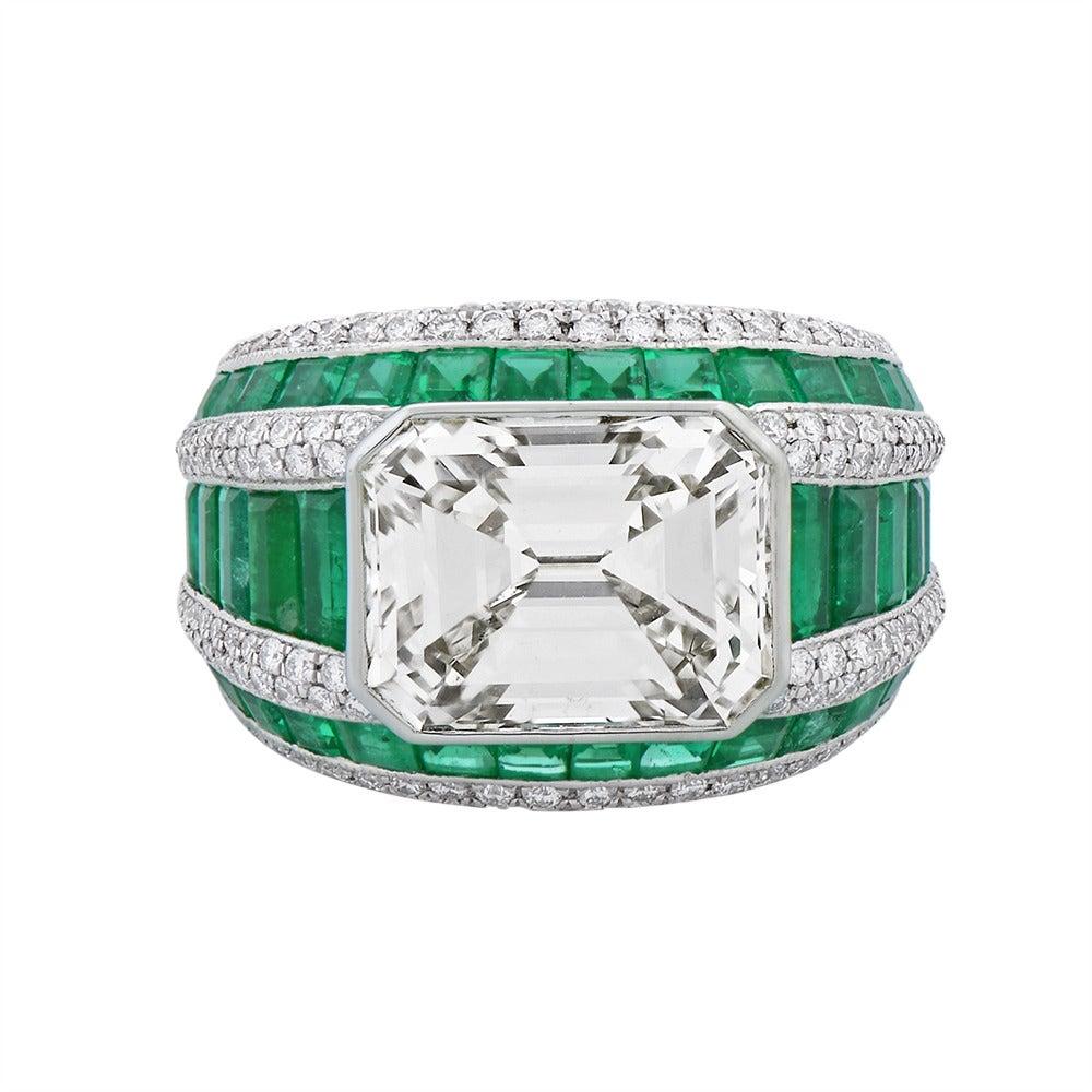 Morelle Davidson 5.82 Carat Emerald Cut Diamond Emerald Platinum Cocktail Ring 2