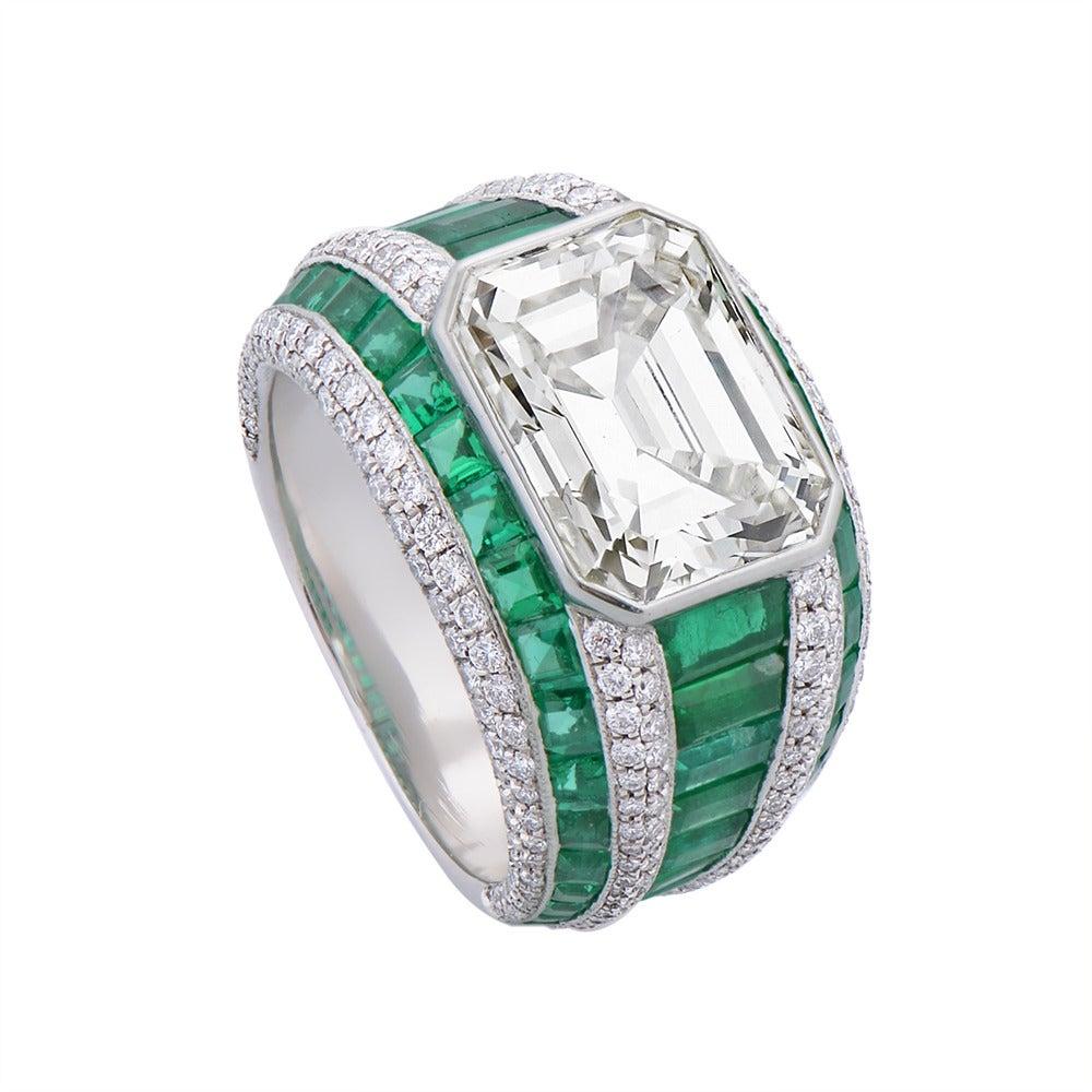 Morelle Davidson 5.82 Carat Emerald Cut Diamond Emerald Platinum Cocktail Ring 3