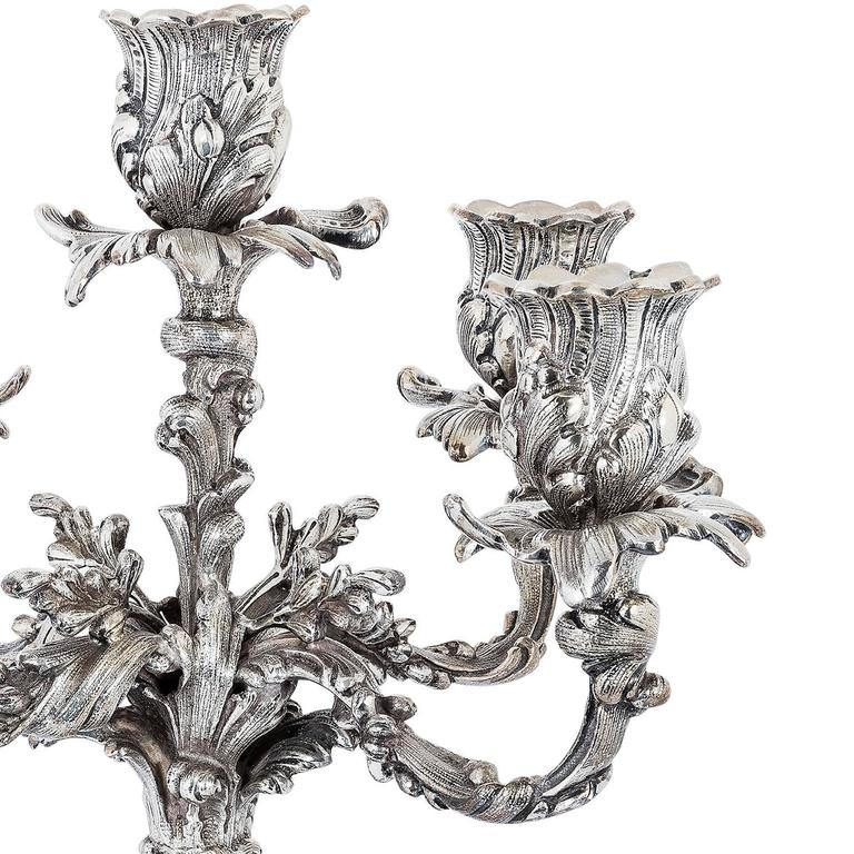 Buccellati Pair of Silver Five Light Candelabra In Excellent Condition For Sale In London, GB