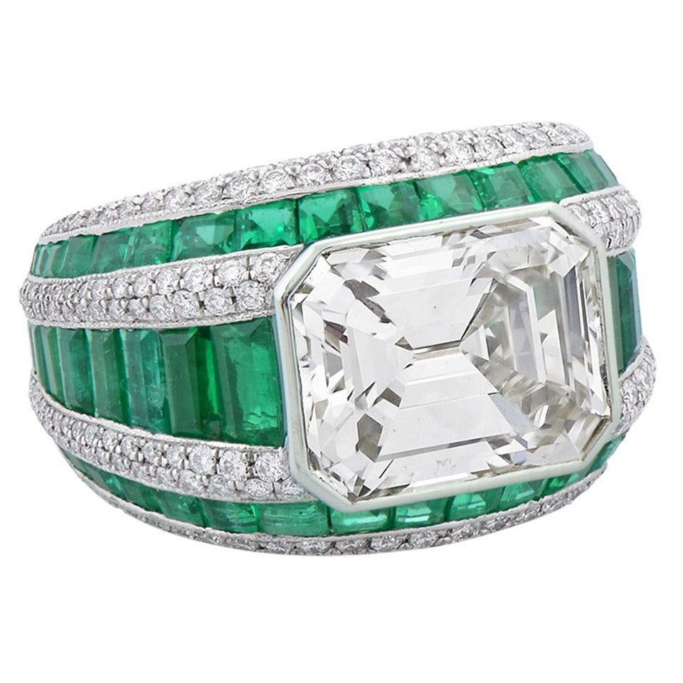 Morelle Davidson 5.82 Carat Emerald Cut Diamond Emerald Platinum Cocktail Ring 1