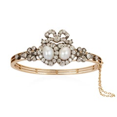Victorian Natural Pearl and Diamond Bangle/Pendant