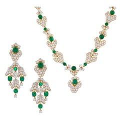 M. Gerard Paris Important Emerald Diamond Gold Demi-Parure