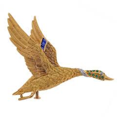 Hermes Gem-Set Two-Colour Gold Bird Brooch