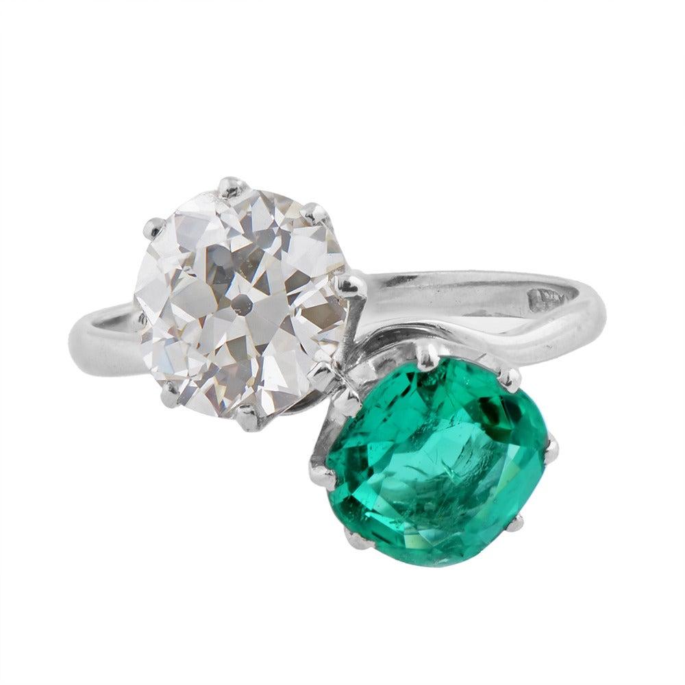 A Fine Two Stone Colombian Emerald Diamond Platinum ...