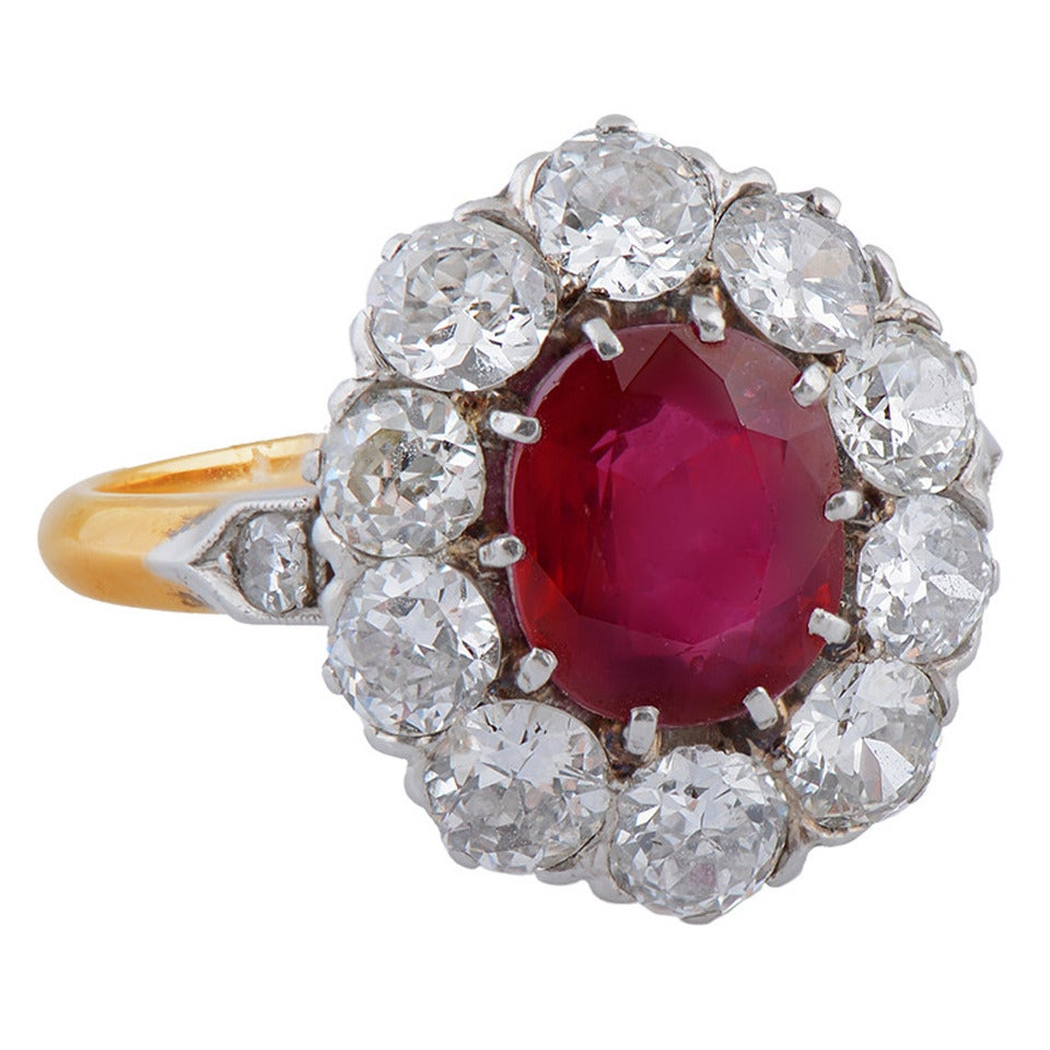 A Fine Burmese Ruby Diamond Gold Platinum Cluster Ring 1