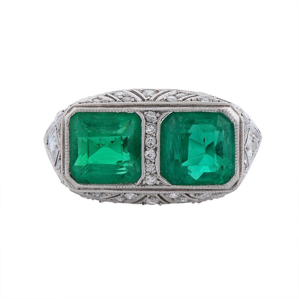 A Fine Art Deco Two-Stone Emerald Diamond Platinum Ring 2