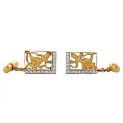 Pair of Diamond Two-Color Gold Indian Female Deity Gentleman's Cufflinks
