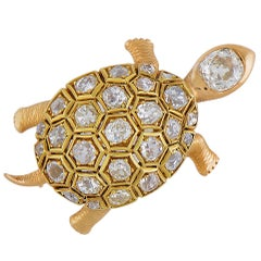 French Diamond Gold Turtle Brooch