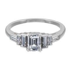GIA Cert 0.71 Carat D Colour Diamond Platinum Engagement Ring