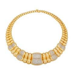 1960s Poiray Paris Diamond Gold Collar Necklace