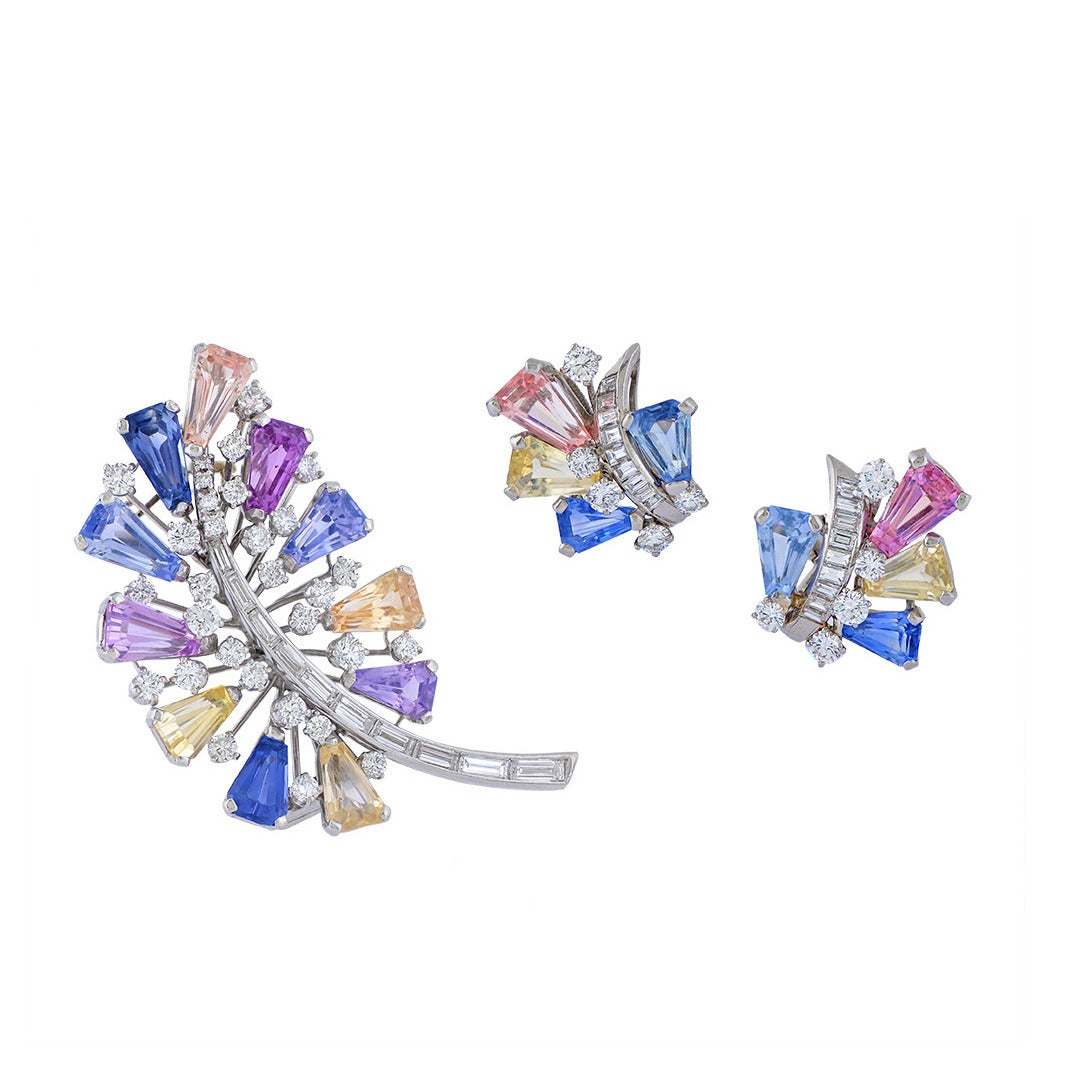 Oscar Heyman & Brothers Sapphire Diamond Platinum Demi-Parure For Sale